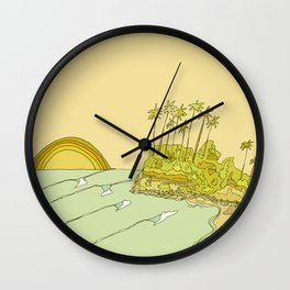 california surf view swamis // retro surf art by surfy birdy Wall Clock