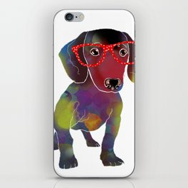 hipster dachshund iPhone Skin