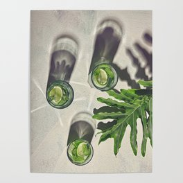 Palm leaf with mint lime drink in glasses with long shadows Poster