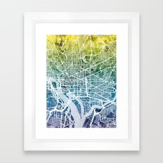 Washington DC Street Map Framed Art Print