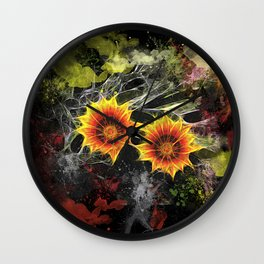 Glowing yellow daisies on black Wall Clock