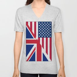 American and Union Jack Flag Unisex V-Neck