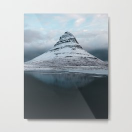 Iceland Mountain Reflection - Landscape Photography Metal Print