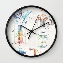 Vintage Fashion Art - Zipper Patent - By Sharon Cummings Wall Clock