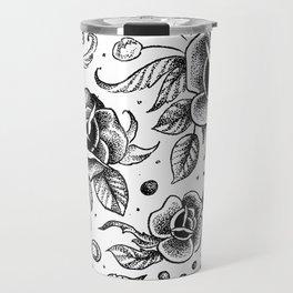 Blackwork Tattoo Roses Travel Mug