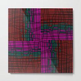 Red, Teal and Pink Vein Line Art on Black Metal Print