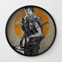 daryl dixon Wall Clocks featuring Daryl Dixon by Yan Ramirez