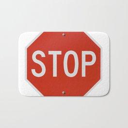 Red Traffic Stop Sign Bath Mat