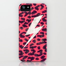 Hipster Neon Pink Leopard Pattern Thunder Strike iPhone Case