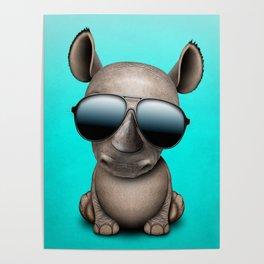 Cute Baby Rhino Wearing Sunglasses Poster