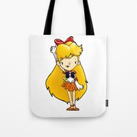 sailor venus Tote Bags featuring Sailor Scout Sailor Venus by Space Bat designs