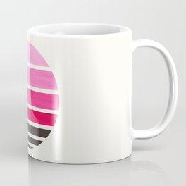 Magenta Mid Century Modern Minimalist Circle Round Photo Staggered Sunset Geometric Stripe Design Coffee Mug