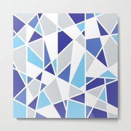 Geometric Pattern in Cobalt Blue and Gray Metal Print