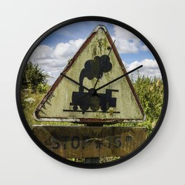 Vintage sign Railroad Crossing in France Wall Clock
