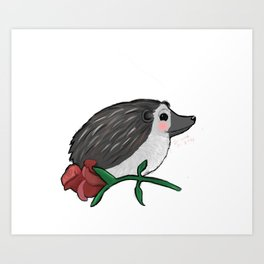 Hedgehog Rose Art Print