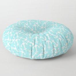 Nautical modern teal white anchor pattern Floor Pillow