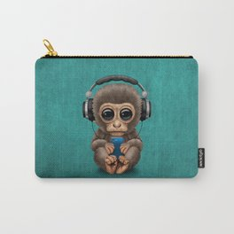 Cute Baby Monkey With Cell Phone Wearing Headphones Blue Carry-All Pouch