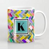 monogram Mugs featuring K Monogram by mailboxdisco