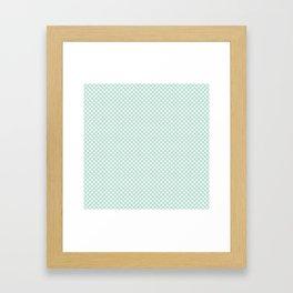 Honeydew and White Polka Dots Framed Art Print