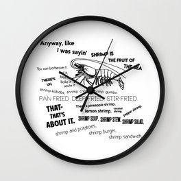 Forrest Gump Bubba Quote on Shrimps Wall Clock