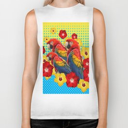 YELLOW-BLUE  FLORAL MACAWS & RED YELLOW HIBISCUS Biker Tank