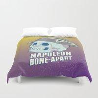 napoleon Duvet Covers featuring Skullture: Napoleon Bone-Apart by El Ojo de Chupacabra