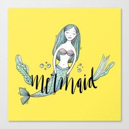 Art yellow sleeping mermaid Canvas Print