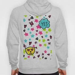 Valentine's Day Sketchy Doodles with cat, hearts and stars Hoody