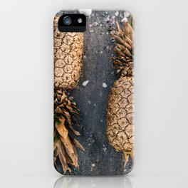 Gold Pineapple Print iPhone Case