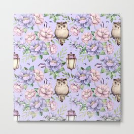 Hand painted blush pink lavender watercolor owl floral Metal Print
