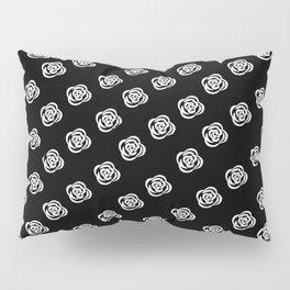 White Rose, Black Background Pillow Sham
