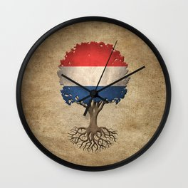 Vintage Tree of Life with Flag of The Netherlands Wall Clock