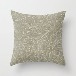 Brown Topo Line Design Throw Pillow