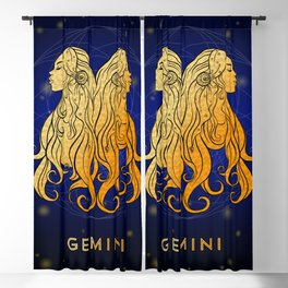 Zodiac golden sign — Gemini Blackout Curtain