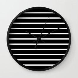 Horizontal Lines (White/Black) Wall Clock