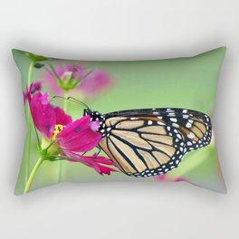 Monarch Butterfly Pollinating Deep Pink Cosmos Flower Rectangular Pillow