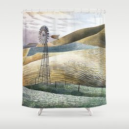 12,000pixel-500dpi - Eric Ravilious - Windmill - Digital Remastered Edition Shower Curtain