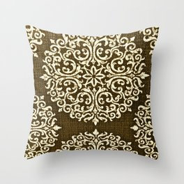 Damask Brown and Beige Fleur De Lis Paisley Vintage Pattern Throw Pillow