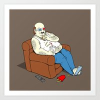 potato Art Prints featuring Couch Potato by Pigboom Art