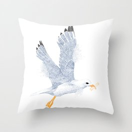 Don't feed the seagulls stippling drawing Throw Pillow