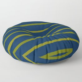 Slate Blue and Antique Green Gold Stripes Floor Pillow