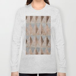 Copper Foil and Blush Rose Gold Marble Triangles Argyle Long Sleeve T-shirt