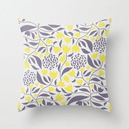 Yellow flowers field Throw Pillow