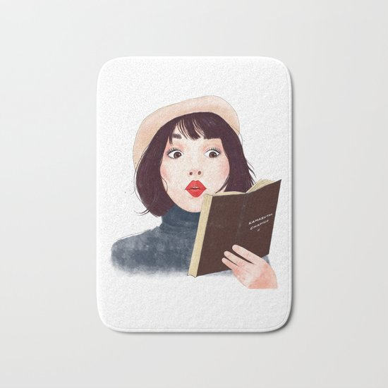 French woman with book Bath Mat
