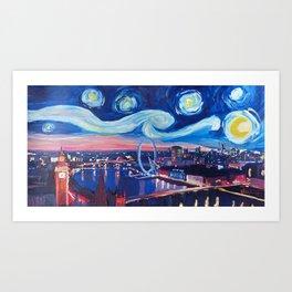 Starry Night in London - Van Gogh Inspirations with Big Ben and London Eye Art Print