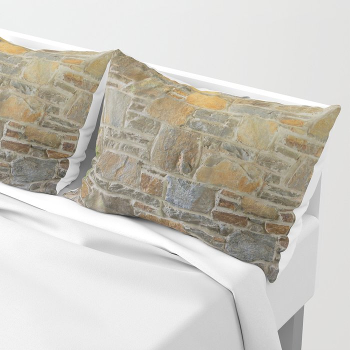 Avondale Brown Stone Wall and Mortar Texture Photography Pillow Sham