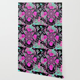 CERISE PINK ROSES & TURQUOISE RIBBONS ON BLACK Wallpaper
