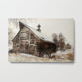 Nebraska Barns in the Snow Metal Print