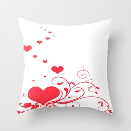 Red Valentine Hearts on A White Background Throw Pillow