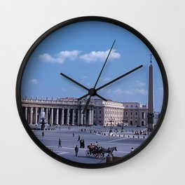 Vintage 1950's photo * St Peter's Square * Piazza San Pietro *  Vatican * Kodachrome Wall Clock
